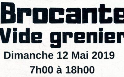 Brocante – Vide Grenier – 12 Mai 2018
